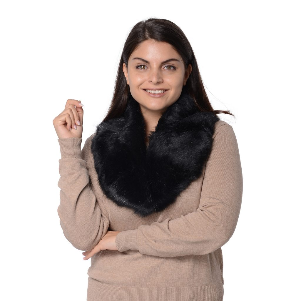 Black Polyester Faux Fur Infinity Scarf