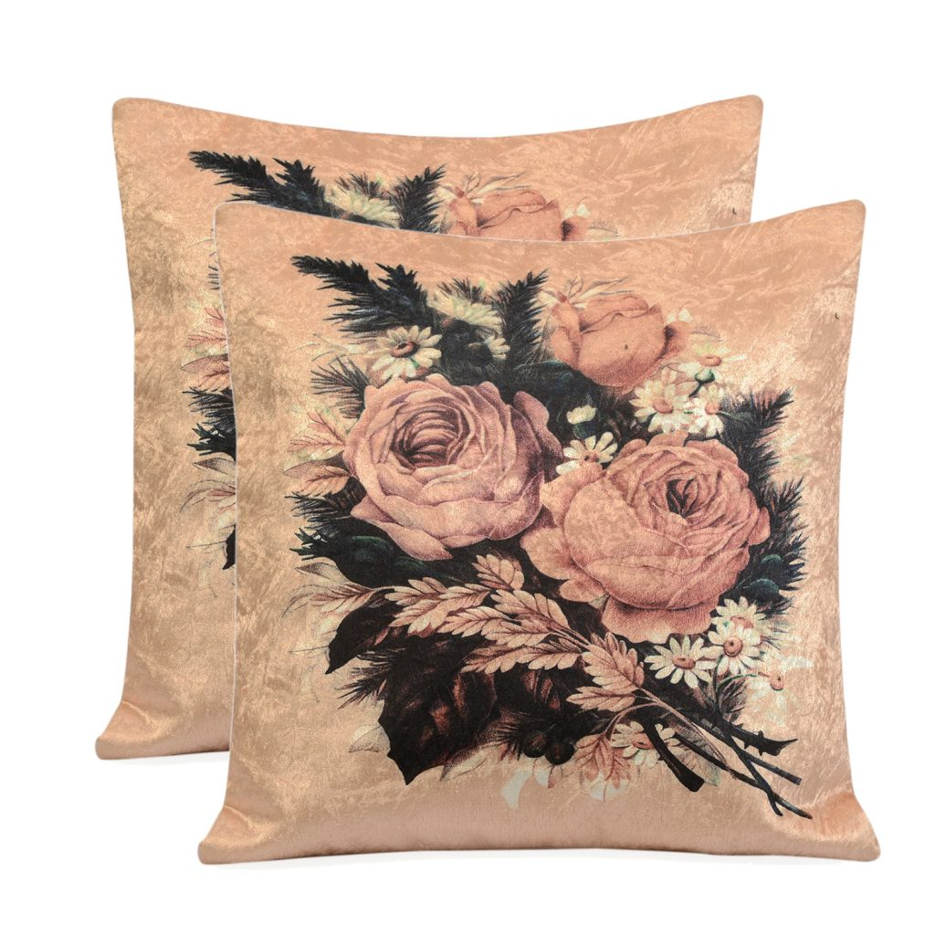 Set of 2 Apricot, Multi Color Faux Velvet Digital Rose Printed Cushion Cover