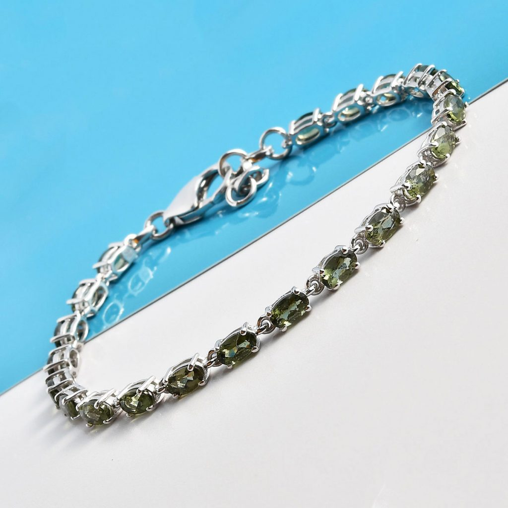Bohemian Moldavite Bracelet in Platinum Over Sterling Silver