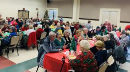 Seniors enjoying a holiday meal at the Baca Center of Round Rock.