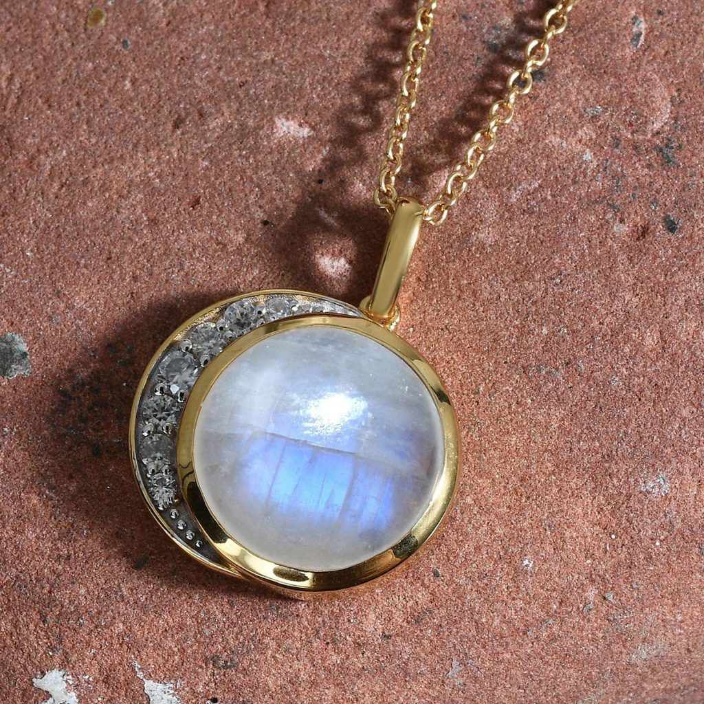 Celestial moonstone pendant in 10K yellow gold vermeil.