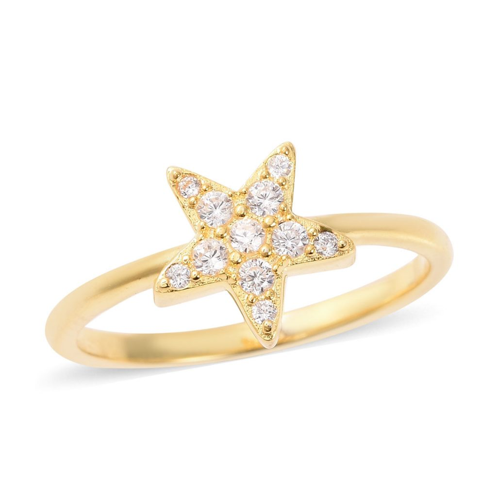 Yellow gold star ring accented with simulated diamonds.