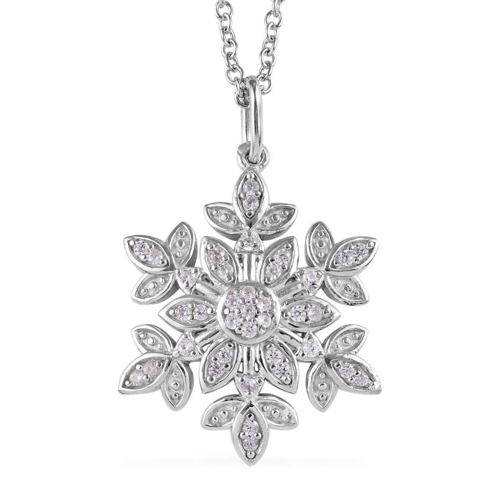 Sterling silver snowflake pendant with zircon accents.