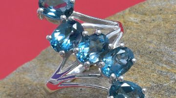 London Blue Topaz 5 Stone Ring in Platinum Over Sterling Silver