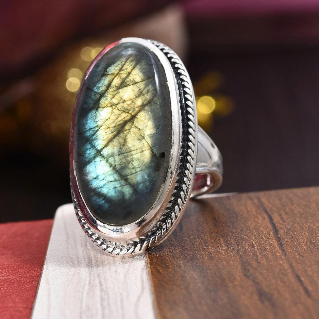 Malagasy Labradorite Ring in Black Oxidized Sterling Silver