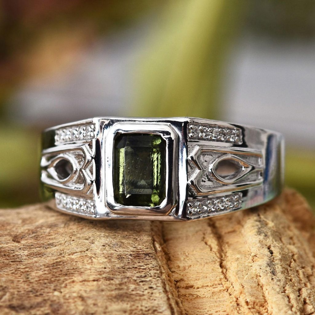Bohemian Moldavite, Zircon Men's Ring in Platinum Over Sterling Silver