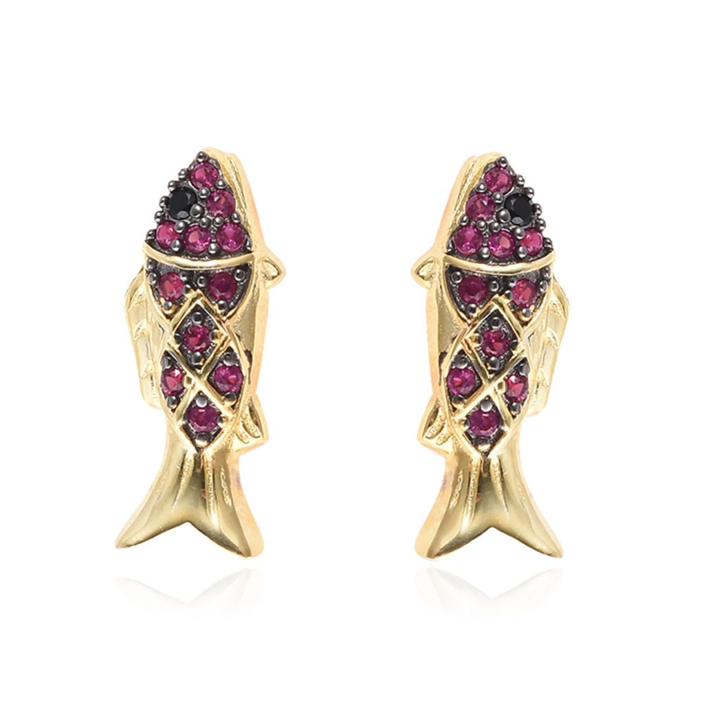 Simulated Black Diamond Fish Earrings