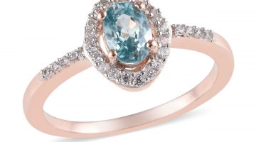 Blue Zircon, White Zircon Birthstone Ring in Vermeil RG Over Sterling Silver