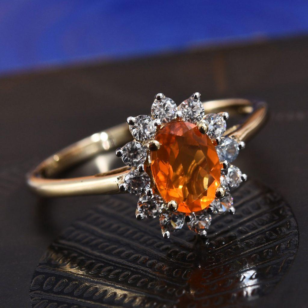 Jalisco Fire Opal, Zircon Ring in 10K Yellow Gold