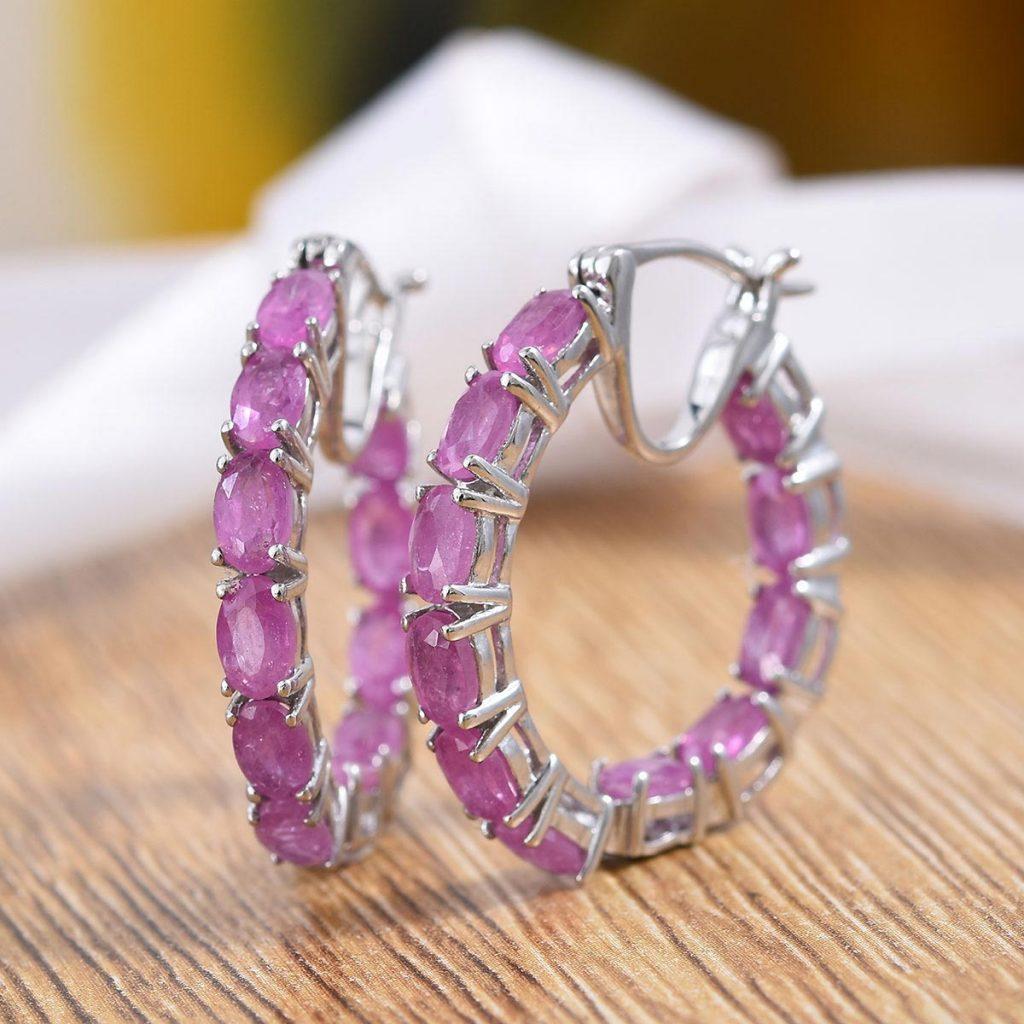 Ilakaka Hot Pink Sapphire, Natural White Zircon Inside Out Hoop Earrings