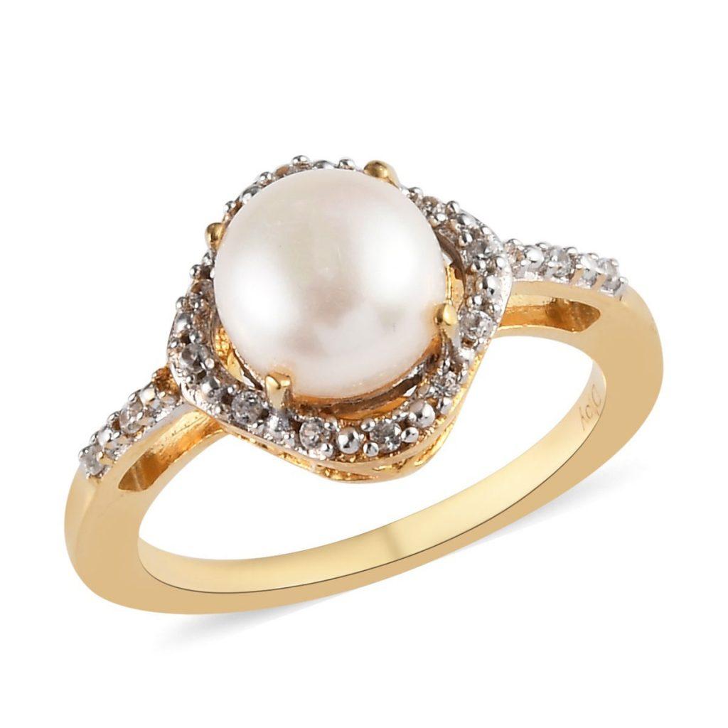 Freshwater Pearl, Zircon Birthstone Ring in Vermeil YG Over Sterling Silver