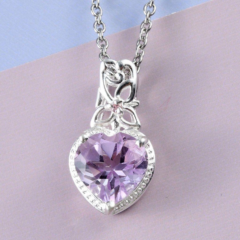 Rose De France Amethyst, Simulated Pink Diamond Pendant Necklace