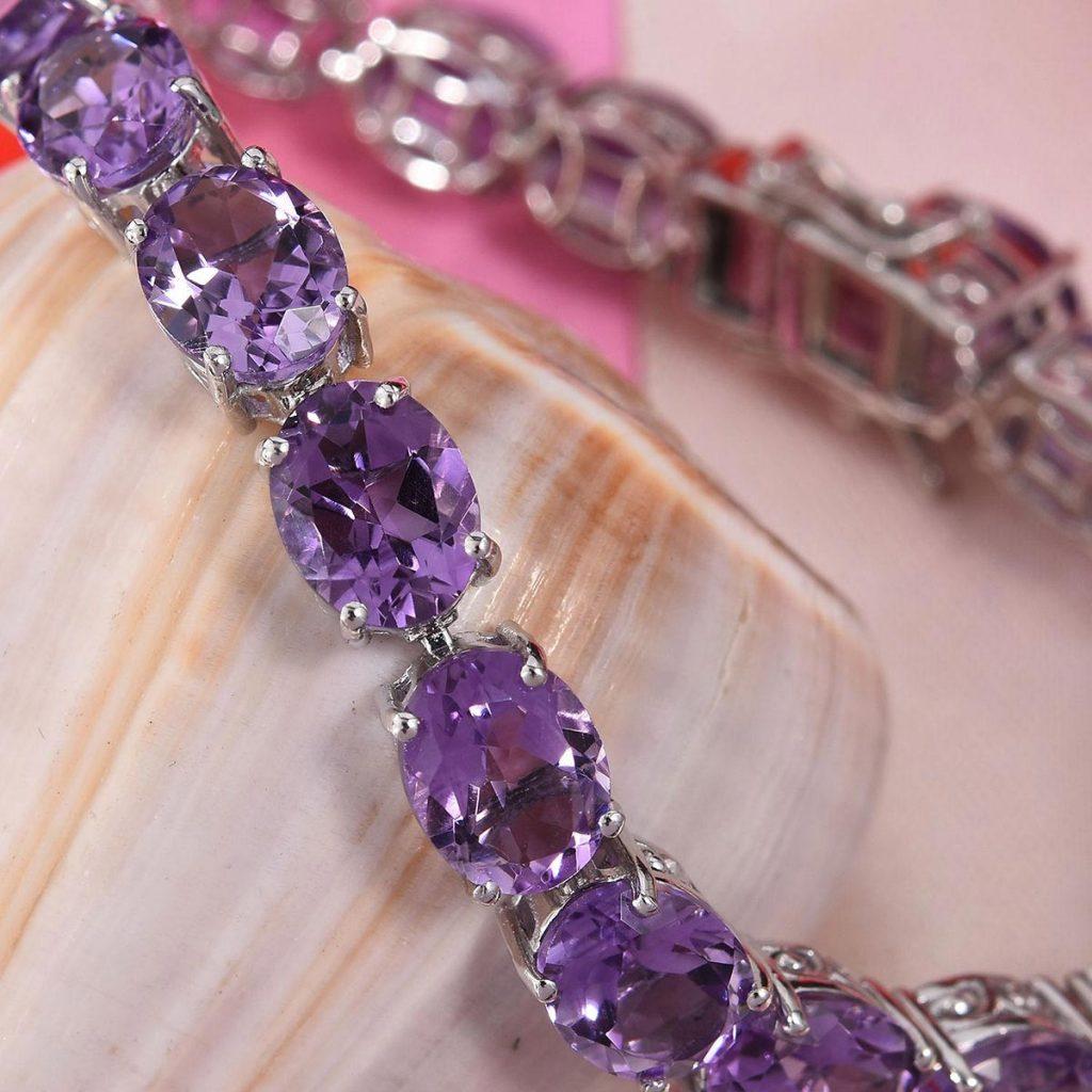 Rose De France Amethyst Bracelet in Platinum Over Sterling Silver