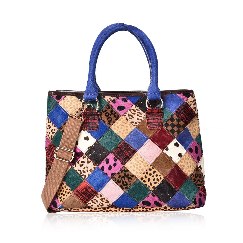 CHAOS BY ELSIE Multi Color Faux Fur Animal Pattern Leather Tote Bag with Removable Shoulder Strap