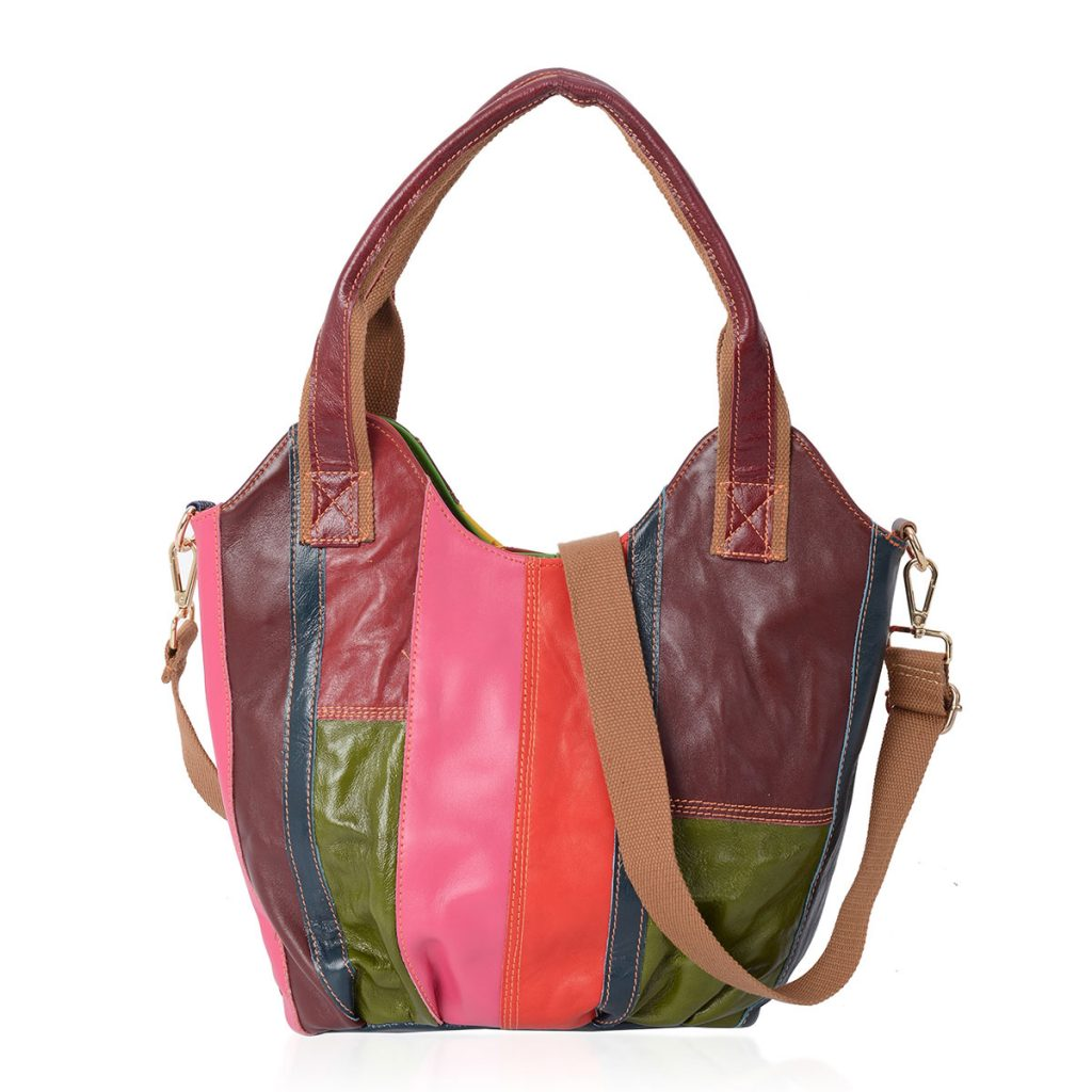 CHAOS BY ELSIE Block Pattern Leather Tote Bag with Shoulder Strap