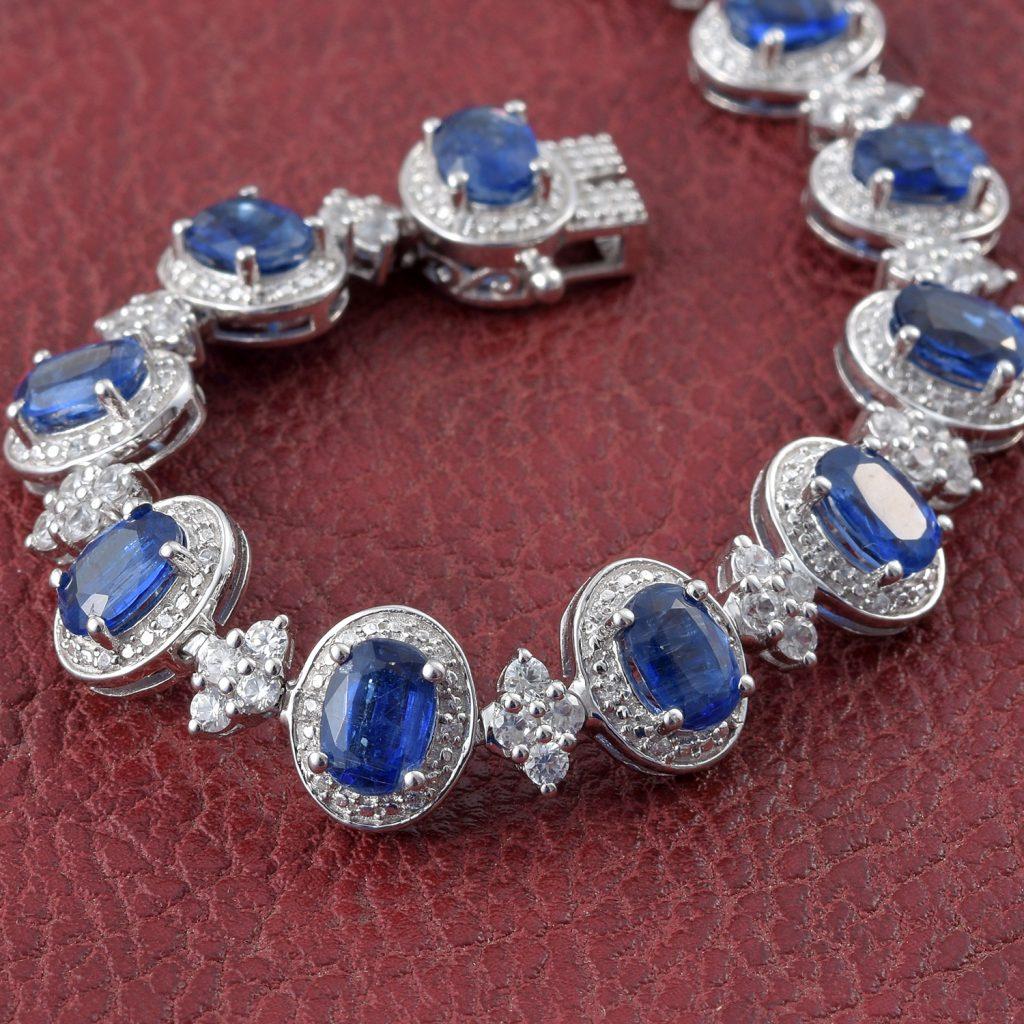 Kyanite, Zircon Bracelet in Platinum Over Sterling Silver