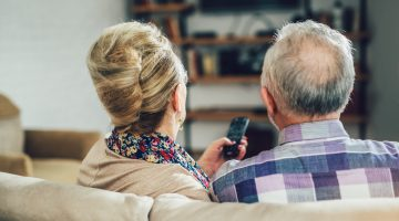 Older couple watching Shop LC in HD.