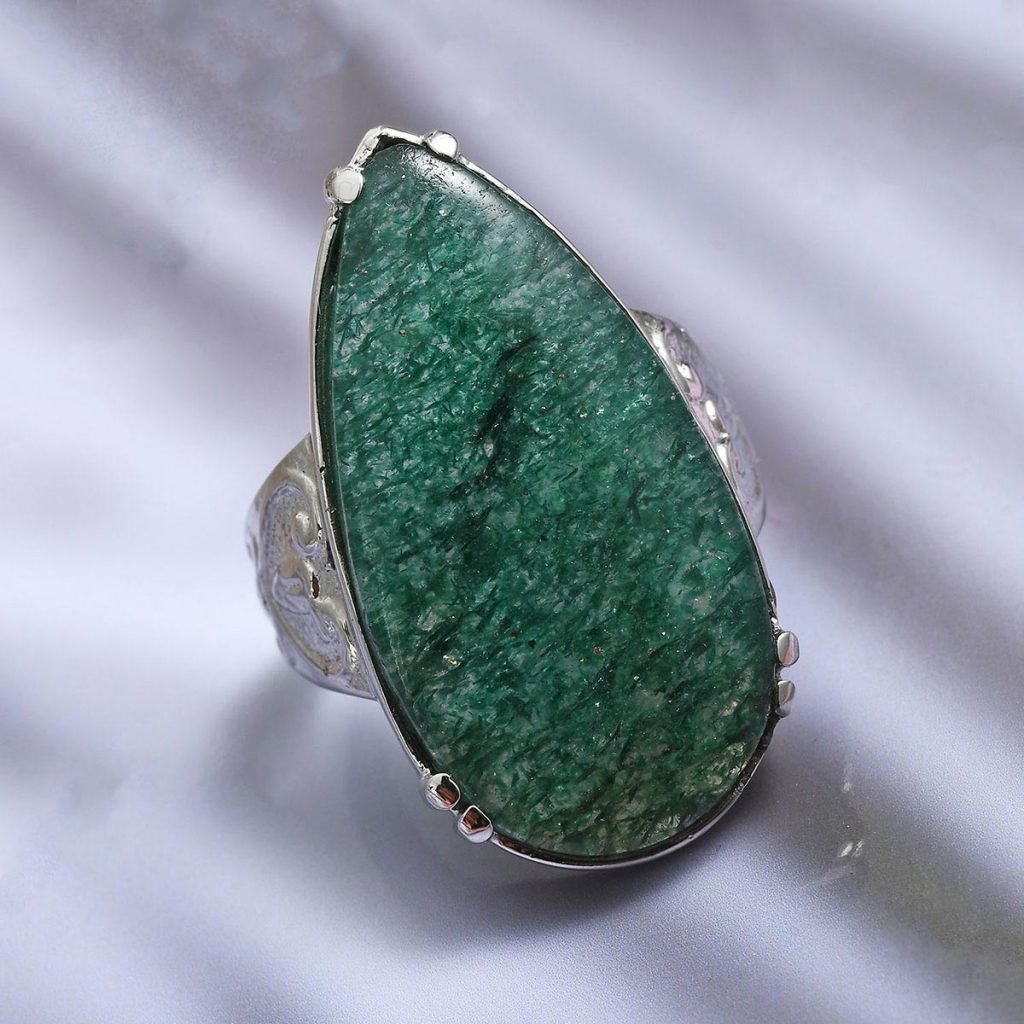 Green Aventurine Ring in Stainless Steel