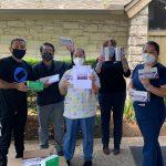 Shop LC donating masks to Gracy Nursing Center.