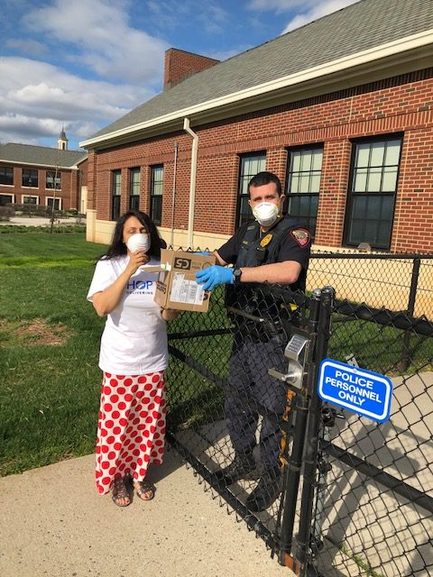 Shop LC donating face masks to Bridgewater police department.