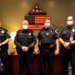 San Marcos Police Department. From left to right, Commander Lee Leonard, Chief Bob Klett, Sergeant Royston, and Asst. Chief Brandon Winkenwerder.