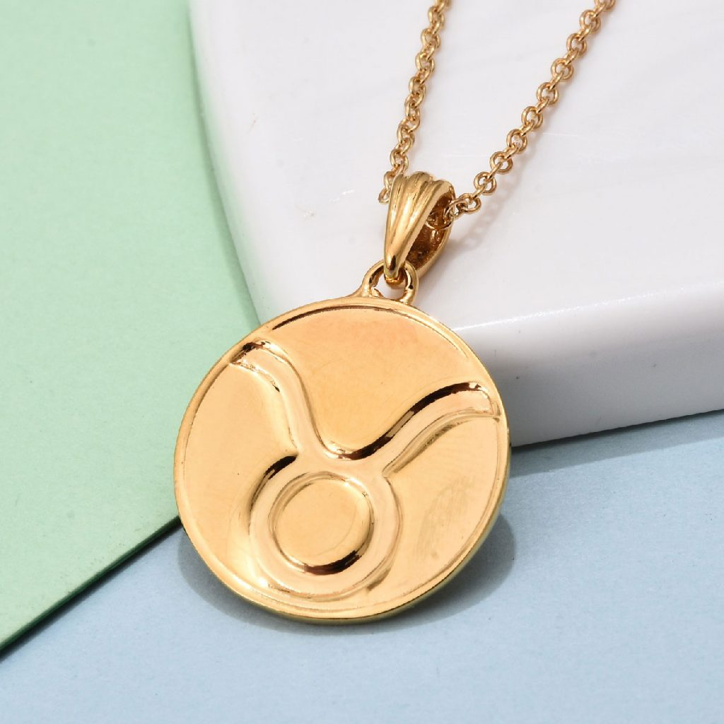 Vermeil YG Over Sterling Silver Taurus Zodiac Pendant Necklace