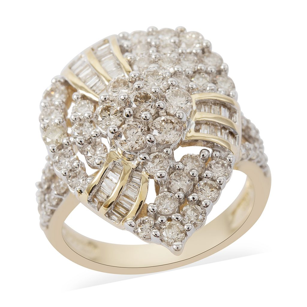 2 ctw Diamond I I1 Cluster Cocktail Ring in 10K Yellow Gold