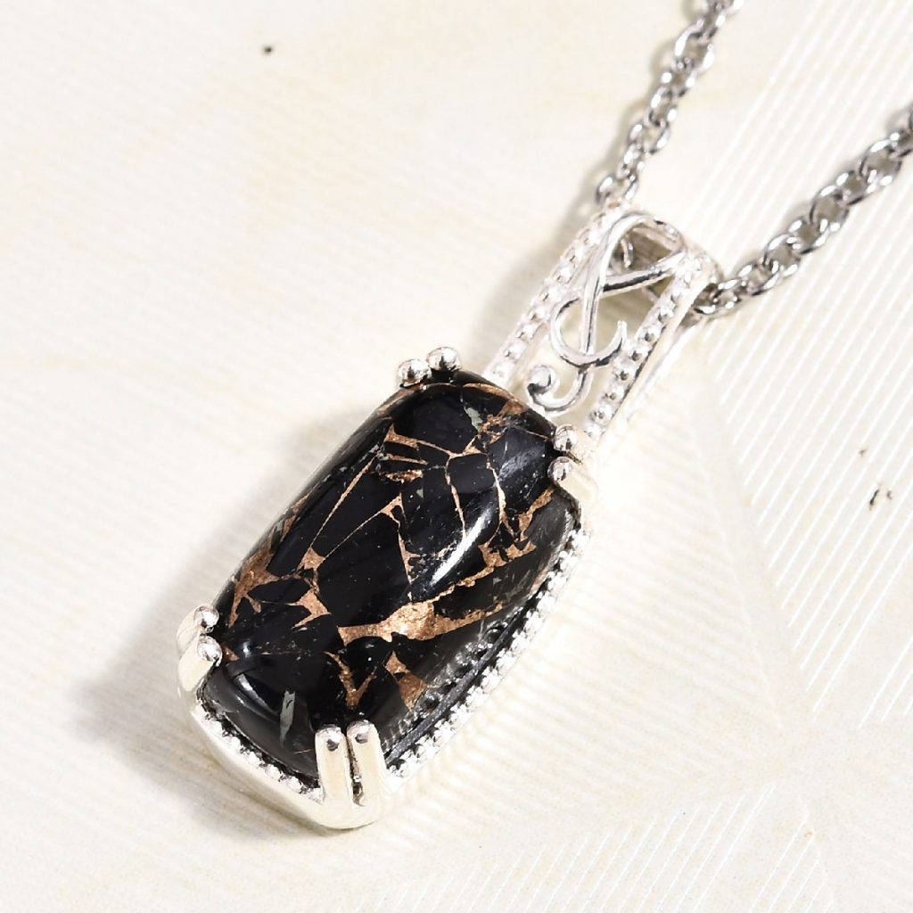 Matrix Black Spinel Pendant Necklace in Sterling Silver and Stainless Steel