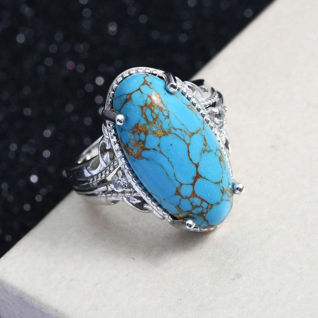 Karis Mojave Blue Turquoise and White Topaz Ring in Platinum Bond Brass