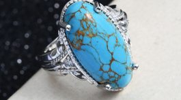 Karis Mojave Blue Turquoise and White Topaz Ring in Platinum Bond Brass