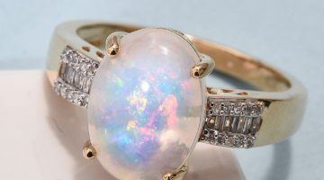 Ethiopian Welo Opal and Diamond Ring in 14K Yellow Gold