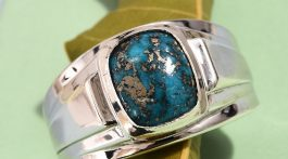 Persian Turquoise men's ring in sterling silver.