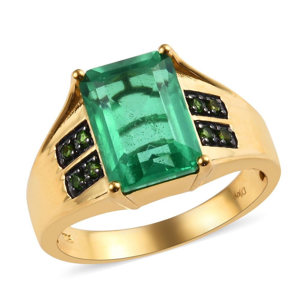 Emerald Quartz and Russian Diopside Men's Ring in Black Rhodium and Vermeil Yellow Gold Over Sterling Silver