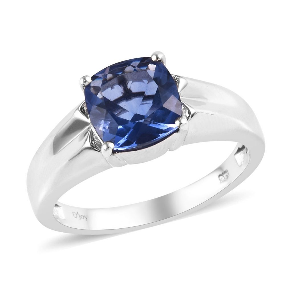 Color Change Fluorite Men's Ring in Platinum Over Sterling Silver