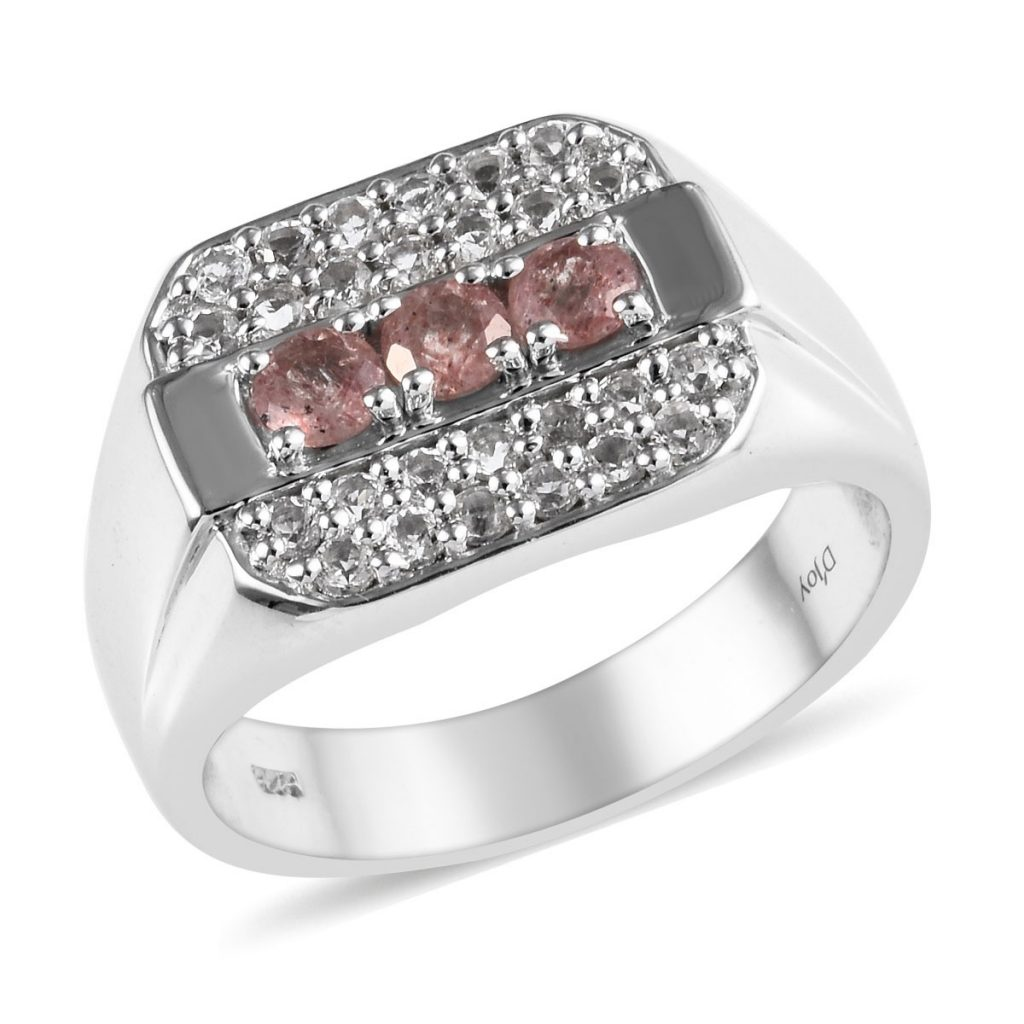 Tanzanian Natronite and White Topaz Men's Ring in Platinum Over Sterling Silver