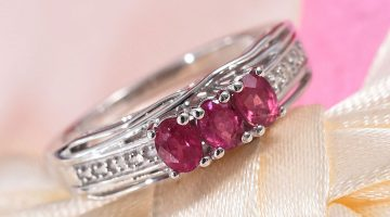 Niassa Ruby and Diamond Accent Ring in Platinum Over Sterling Silver