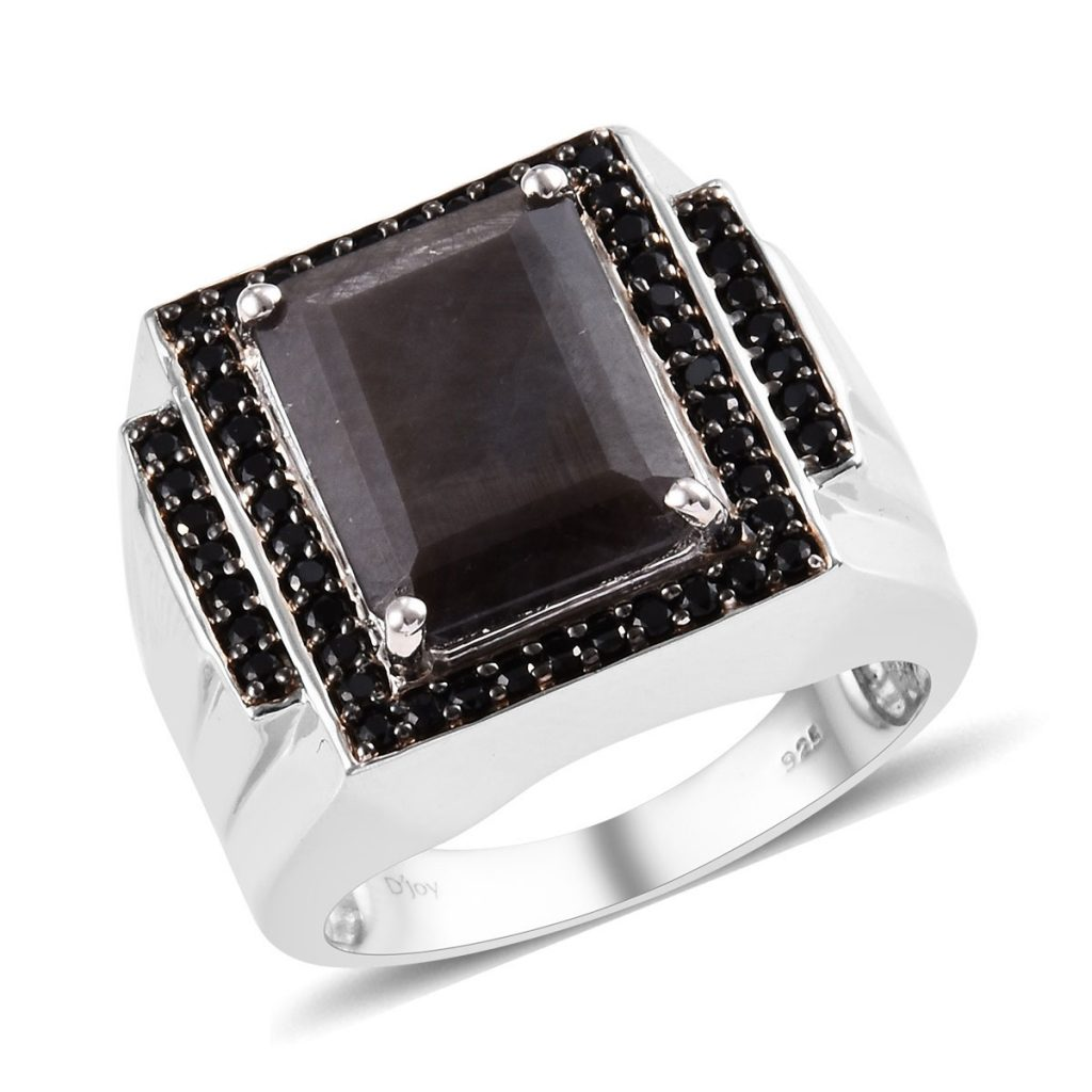 Natural Silver Sapphire and Natural Thai Black Spinel Men's Ring in Platinum Over Sterling Silver