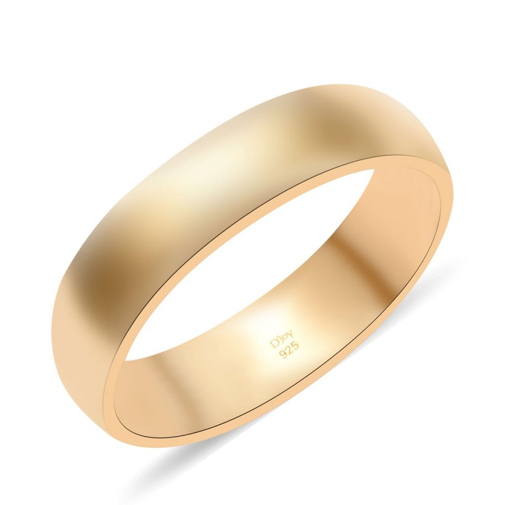 Men's Band Ring Vermeil Yellow Gold Over Sterling Silver