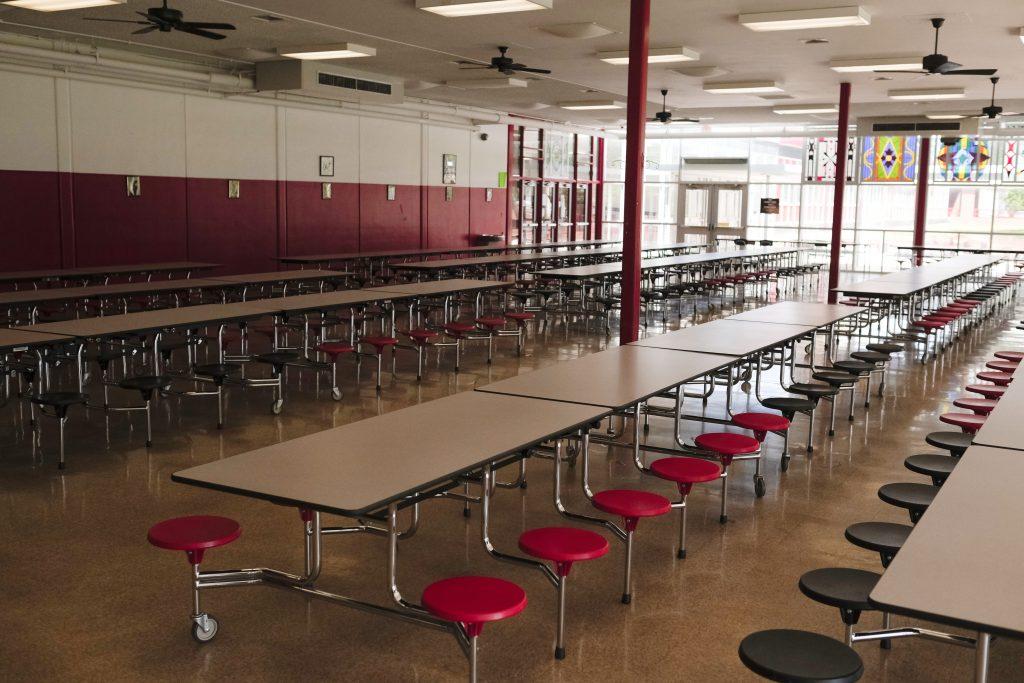 Empty school cafeteria.