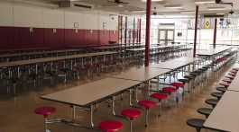 Empty school cafeteria.