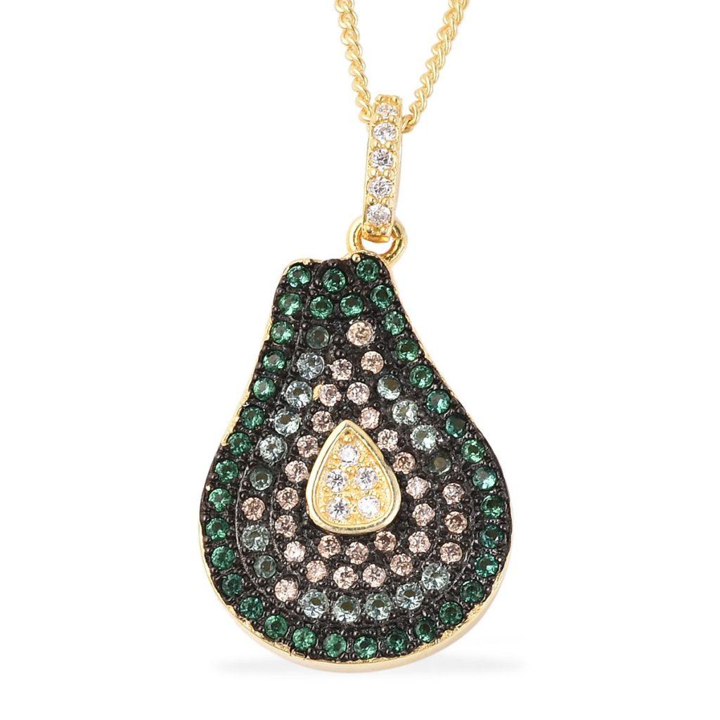 Multi colored simulated diamond avocado pendant necklace.