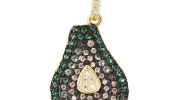 Multi colored simulated diamond avocado pendant necklace.