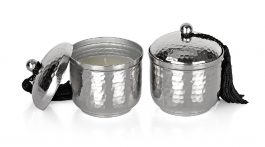 Value Buy Set of 2 Small Hammered Silvertone Wick Candle with Tassel Lids