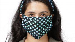 Aqua polka dot knotted headband with matching face mask.