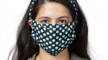 Aqua polka dot knotted headband with matching face mask.